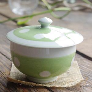 波佐見焼 みずたま-すたんだーど ふた蓋付 煎茶碗(黄緑グリーン)和食器 和風 ドット ricebowl