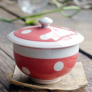 波佐見焼 みずたま-すたんだーど ふた蓋付 煎茶碗(赤レッド)和食器 和風 ドット ricebowl