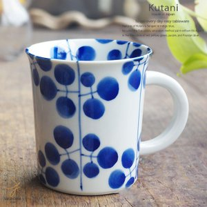和食器 九谷焼 マグカップ 藍染付けブルー 季節の花萩 日本製 うつわ  カフェ おうち ricebowl