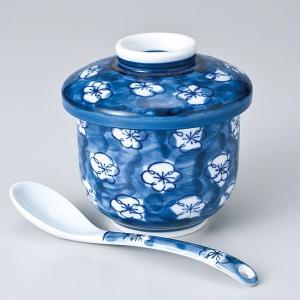 和食器 フタをあけてふわぁーっと 梅ずくし 茶碗蒸し スプーンセット スープ 陶器 うつわ ごはん おうち おしゃれ むし碗  汁碗 デザート ricebowl