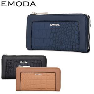エモダ EMODA 長財布 EM-9755 クロコ型押し  L字ファスナー 財布 レディース  [PO5]|richard