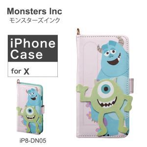 モンスターズインク Monsters Inc iPhoneX ケース ダイカット サリー&マイク iP8-DN05 アイフォン スマホケース ディズニー 手帳型 カード収納 ミラー付 [PO10]|richard