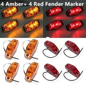 12V/24V兼用 汎用トラック トレーラー ピラニア LEDサイドマーカー ウインカーライト ランプ 電球 (アンバー 4個+レッド4個)|richgroupled