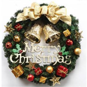 玄関から ゴージャスに!! Xmas クリスマス リース ゴールド リボン 飾り 30cm