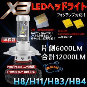 新基準車検対応LEDヘッドライトH8/H11、HB3、HB4 6000LM PHILIPS製6500K2本セット|richgroupled