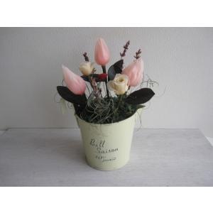 【送料無料】チューリップとミニ花でお祝いにぴったり/かわいいブリキの器プリザーブドフラワーアレンジ/誕生日】|richild