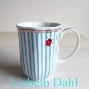 【ギフト包装対応】リスベスダール マグカップ ストライピー/Lisbeth Dahl【ブルー・ストライプ・てんとう虫・コーヒーカップ・洋食器・陶器】|richild