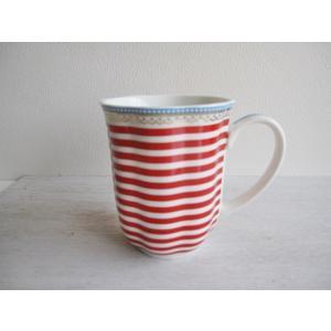 【ギフト包装対応】リスベスダール マグカップ ハッピー/Lisbeth Dahl/ブルー・ストライプ/コーヒーカップ・洋食器・陶器】|richild