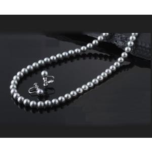 貝パール 美しいネックレスとイヤリング2点セット グレー 日...