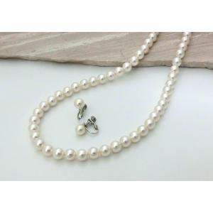 貝パール 美しいネックレスとイヤリング2点セット ホワイト ...