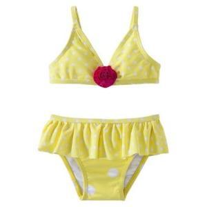 子供 水着 女の子 上下セット ciRco イエロー 水玉 フリル ビキニ インポート ワンピース セパレート ドット フラワー フリル|richsmile