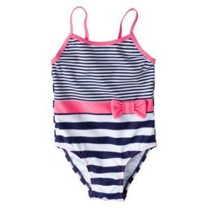 子供 水着 女の子 ワンピース ciRco ボーダー&リボン インポート ピンク ネオン|richsmile