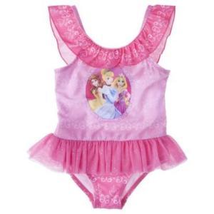 子供 水着 女の子 ワンピース Disney プリンセス フリル&チュチュ 2T/2歳 インポート ピンク ディズニー 2歳 プリンセス ビキニ バレリーナ|richsmile