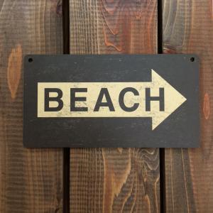 アメリカン雑貨 ヴィンテージ風 MDF 看板 ウッドサイン BEACH ビーチ|richsmile