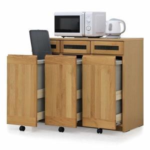 キッチンカウンター ごみ箱 ダストボックス 3分別 幅102 奥行47 高さ85 アルダー材 45L ペール付(ゴミ箱) ナチュラル カントリー調 完成品 国産|rick-store