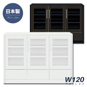 鏡面 キャビネット サイドボード リビングボード 幅120 選べる2色 開戸 引き出し 光沢 艶あり 北欧 シンプル モダン 日本製 木製 完成品|rick-store