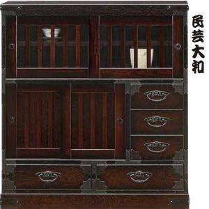 民芸 和風 キャビネット チェスト 木製 完成品 国産品 幅90|rick-store