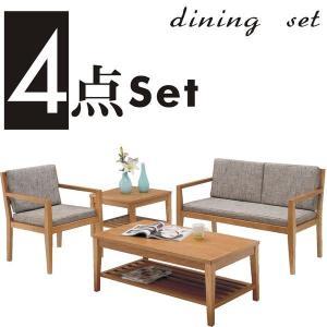 テーブルセット リビングテーブルセット 4点 3人掛け タモ材 チェアー ファブリック 布地 木製 ナチュラル 北欧 モダン|rick-store