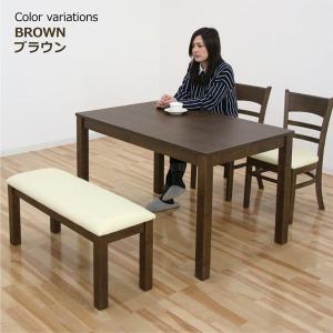 ダイニングテーブルセット 4人掛け 4点 ベンチ 北欧 木製 人気 モダン|rick-store|02