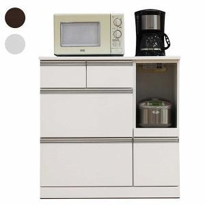 キッチンカウンター カウンターキッチン 幅90 キッチン収納 鏡面仕上げ 光沢 艶有り コンセント付き 完成品 収納 おしゃれ|rick-store