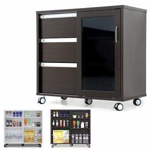 キッチンカウンター キッチン収納 幅90 奥行45 高さ86 両面カウンター キャスター付き おしゃれ 北欧 モダン 選べる 2色 完成品|rick-store