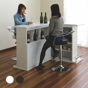 テーブル バーカウンター カウンターテーブル 2点セット 幅100 幅120 ホームバー 収納 棚付き おしゃれ 選べる 2色 完成品|rick-store