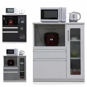 キッチンカウンター カウンターキッチン 幅85 鏡面仕上げ コンセント付き モイス付き 背面化粧仕上げ 可動棚 日本製 完成品|rick-store