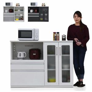 キッチンカウンター カウンターキッチン 幅130 鏡面仕上げ コンセント付き モイス付き 背面化粧仕上げ 可動棚 日本製 完成品|rick-store