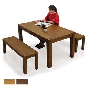 ダイニングテーブルセット 4人掛け 3点 ベンチ 幅150cm 無垢 北欧 モダン 人気|rick-store