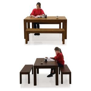 ダイニングテーブルセット 4人掛け 3点 ベンチ 幅150cm 無垢 北欧 モダン 人気 rick-store 04