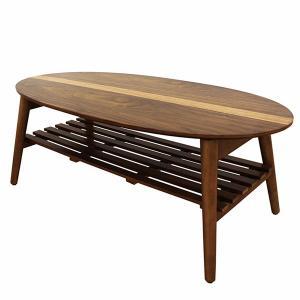 テーブル センターテーブル ローテーブル 幅100cm ウォールナット タモ材 楕円 折れ脚 棚付き 北欧 モダン 完成品|rick-store