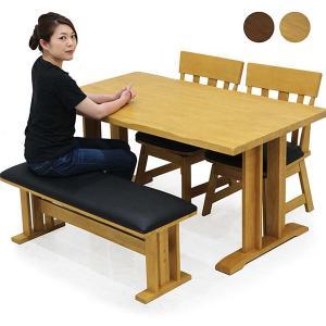 ダイニングテーブルセット 4人掛け 4点 ベンチ 和 和風 回転チェアー 無垢 天然木 モダン|rick-store