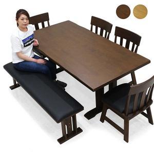 ダイニングテーブルセット 6点 7人掛け ベンチ 和 和風 回転チェアー 無垢 天然木 モダン rick-store