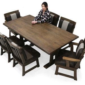 和風 ダイニングテーブルセット 6人掛け 7点 無垢材 天然木 テーブル幅190 ビンテージ調 座面 PU フェイクレザー 肘付 肘なし 回転チェア 和モダン rick-store