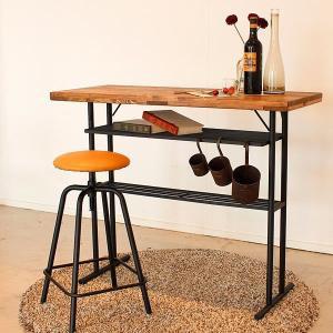 バーカウンター 机 テーブル 幅110cm 収納棚 パイン 無垢 古木風 レトロ モダン|rick-store