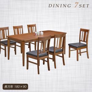 ダイニングテーブルセット 6人掛け 7点 テーブル幅180 オーク材 アンティーク調 チェア PVC 合皮レザー おしゃれ rick-store