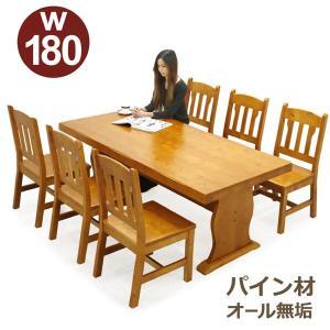 ダイニングテーブルセット 6人掛け 7点 テーブル幅180 パイン 無垢材 天然木 カントリー調 節あり 木製 ライトブラウン rick-store