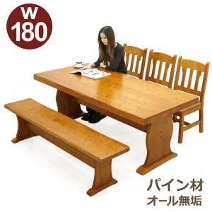 ダイニングテーブルセット 6人掛け 5点 ベンチ テーブル幅180 パイン 無垢材 天然木 カントリー調 節あり 木製 ライトブラウン|rick-store