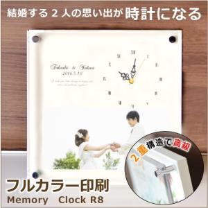 フルカラー印刷 白が際立つ写真入り時計 R-8 写真1枚 名前入り|ricordo
