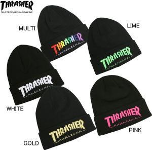 スラッシャー THRASHER ニット KNIT キャップ 帽子 ビーニースラッシャー MAG LOGO emb マルチ ホワイト 白 ライム ゴールド ピンク メンズ レディース|rifflepage