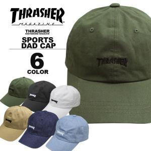 スラッシャー THRASHER MAG LOGO SPORTS CAP Dad HAT キャップ 帽子 ブラック 黒 ホワイト 白 カーキ ベージュ デニム カーブキャップ ローキャップ メンズ レデ|rifflepage