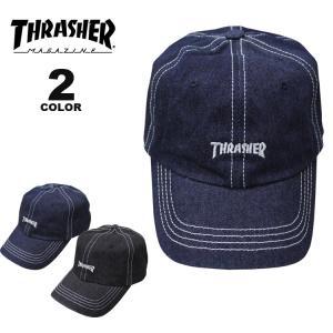 スラッシャー キャップ 帽子 THRASHER DENIM STITCH DAD CAP メンズ レディース カーブキャップ ローキャップ 全2色|rifflepage
