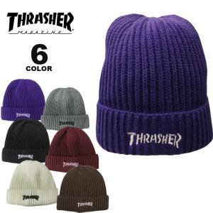 (公式)スラッシャー ビーニー ニット帽 THRASHER MAG LOGO RIB KNIT BEANIE CAP ニットキャップ メンズ レディース 全6色|rifflepage