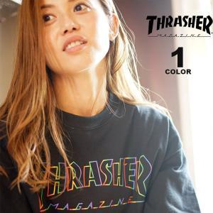 スラッシャー Tシャツ THRASHER SPECTRUM S/S T-SHIRTS 半袖 TEE メンズ レディース ユニセックス プリント ブラック 黒 S-XL|rifflepage