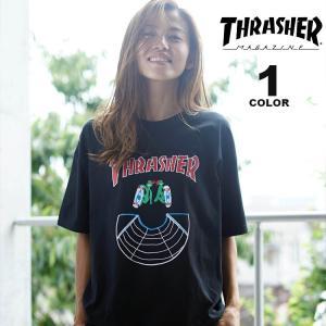 スラッシャー Tシャツ THRASHER DOUBLES S/S T-SHIRTS 半袖 TEE メンズ レディース ユニセックス プリント ブラック 黒 S-XL|rifflepage