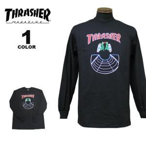 スラッシャー Tシャツ ロンT THRASHER DOUBLES L/S T-SHIRTS 長袖 TEE メンズ レディース ブラック 黒 S-XL|rifflepage