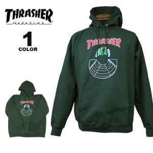 スラッシャー パーカー THRASHER DOUBLES HOOD SWEAT PARKA スウェット パーカ メンズ レディース 裏起毛 グリーン S-XL|rifflepage