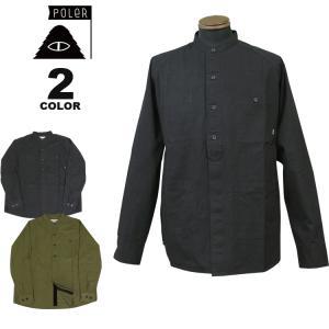 ポーラー シャツジャケット POLER COTTON RIP RAGLAN SHIRT JACKET オーバーサイズ ジャケット メンズ 全2色 S-L|rifflepage