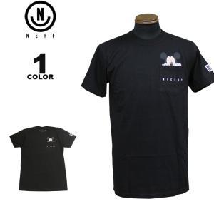 ネフ NEFF Tシャツ MICKEY PEEK POCKET S/S T-SHIRTS ディズニー ミッキーマウス 半袖 TEE メンズ ブラック 黒 S-XL|rifflepage