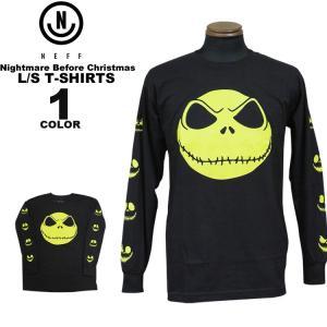 ネフ NEFF Tシャツ NIGHTMARE BEFORE CHRISTMAS MR S L/S T-SHIRTS ナイトメア ビフォア クリスマス 長袖 TEE メンズ ブラック 黒 S-XL|rifflepage